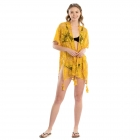 LOF806 Rose Print Cover-up W/tassels, Mustard