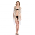 LOF809 Embroidery Flower Cover-up, Beige