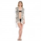 LOF809 Embroidery Flower Cover-up, Black