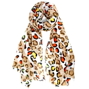 LOF816 Multicolor Leopard Print Oblong Scarf, Beige