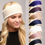 LHB001 FAUX FUR LINED KNIT HEADBAND