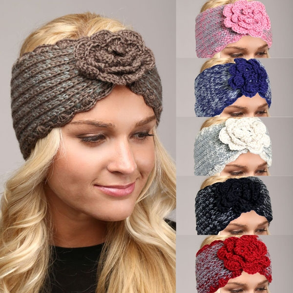Lhb004 Two Tone Headband W Knit Flower Wholesale Scarves