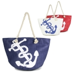 LOA041 Big Anchor Print Beach Bag