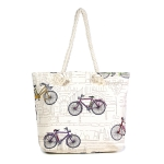 LOA043 Bicycle Print Beach Bag