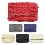 LOA049 Crochet Paper Straw Pouch W/ Chain