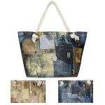 LOA067 Denim Jean Print Beach Bag with Pouch