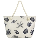 LOA071 Seashell Print Beach Bag