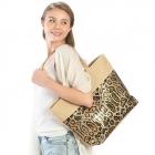 LOA208 Sequin Animal Print Tote Bag, Brown