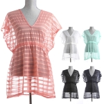 LOF216 TRANSPARENT STRIPE COVER UP