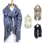 LOF309 Rabbit Fur Pompom Oblong Scarf