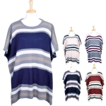 LOF344 Striped Print Poncho