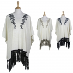 LOF386 EMBROIDERY FLOWER PONCHO
