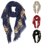 LOF390 FLOWER OBLONG SCARF