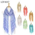 LOF4047 Multi Stripe Crinkled Scarf