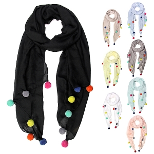 LOF405 Solid Pom Pom Accent Oblong Scarf