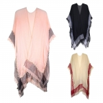 LOF429 TWO TONE COLOR BEACH COVER UP WITH MINI POM POM