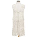 LOF449 Floral Crochet Lace Long Vest