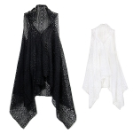 LOF456 Long Lace Drape Vest