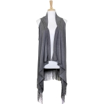 LOF461 Solid Long Vest with Tassel