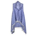 LOF462 Anchor Print Vest with Tassel