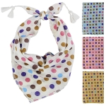 LOF470 Big Multi Color Polka Dot Bandana with Tassel