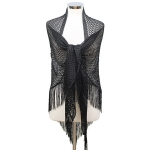 LOF482 Triangle Net Shawl W/ Tassel, Black