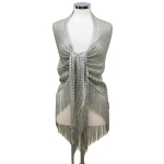 LOF482 Triangle Net Shawl W/ Tassel, Grey