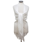 LOF482 Triangle Net Shawl W/ Tassel, White