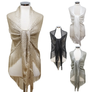 LOF482 Triangle Net Shawl W/ Tassel
