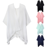 LOF486 Lace Edge Solid Cover Up with Ripped Back
