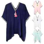 LOF490 COVER-UP WITH POMPOM & TASSEL
