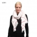 LOF570 STRIPED EDGE SOLID OBLONG SCARF W/ FRAYED FRINGE