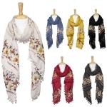 LOF593 Floral Embroidery Oblong W/ POMPOM