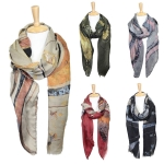 LOF608 Abstract Waves Print Oblong Scarf