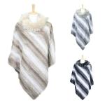 LOF610 Soft Striped Poncho W/Fur