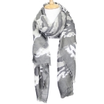 LOF611 Animal Print Oblong Scarf, Charcoal