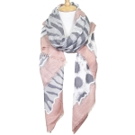 LOF611 Animal Print Oblong Scarf, Pink
