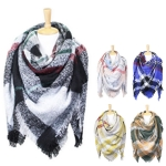 LOF620 MULTI COLOR PLAID BLANKET SCARF