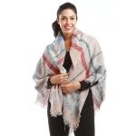 LOF620 Multi Color Plaid Blanket Scarf, Pink
