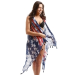 LOF703 USA Flag Vest Cover Up W/Tassel