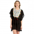 LOF722 Embroidery Cover Up, Black