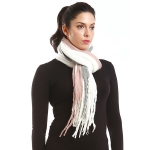 LOF750 Solid Line Oblong Scarf, White