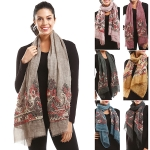 LOF758 Yarn Flower Embroidery Oblong Scarf
