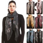 LOF759 Yarn Paisley Embroidery Oblong Scarf