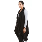 LOF773 Solid Ruffled Vest Shawl, Black