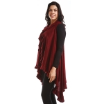 LOF773 Solid Ruffled Vest Shawl, Burgundy