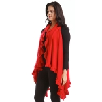 LOF773 Solid Ruffled Vest Shawl, Red