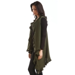 LOF773 Solid Ruffled Vest Shawl, Olive