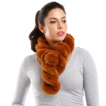 LOF786 Faux Fur Twisted Pull Through Scarf, Brown