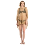 LOF801 Metallic Net Cover-Up w/Fringes, Gold